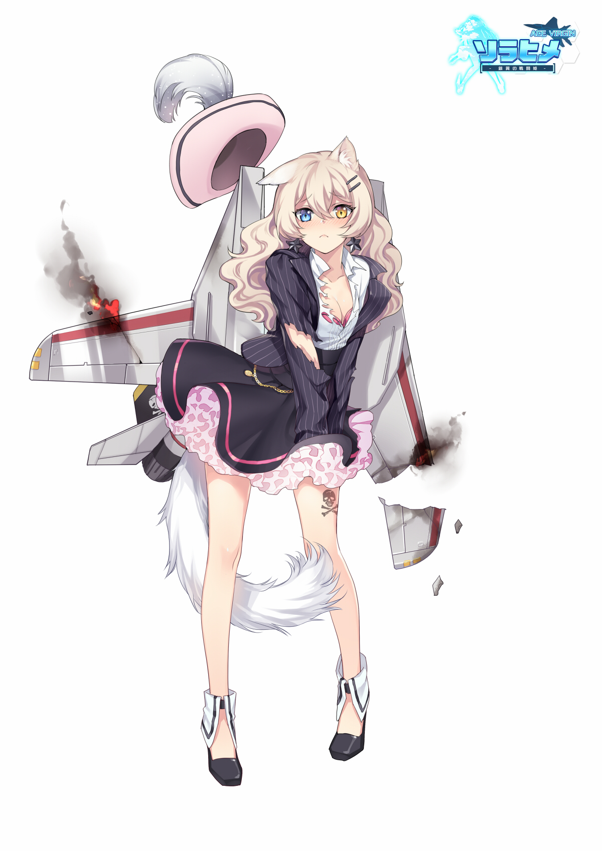 yande.re 410416 ace_virgin animal_ears bra cleavage fhalei heels heterochromia open_shirt tail tattoo torn_clothes.jpg