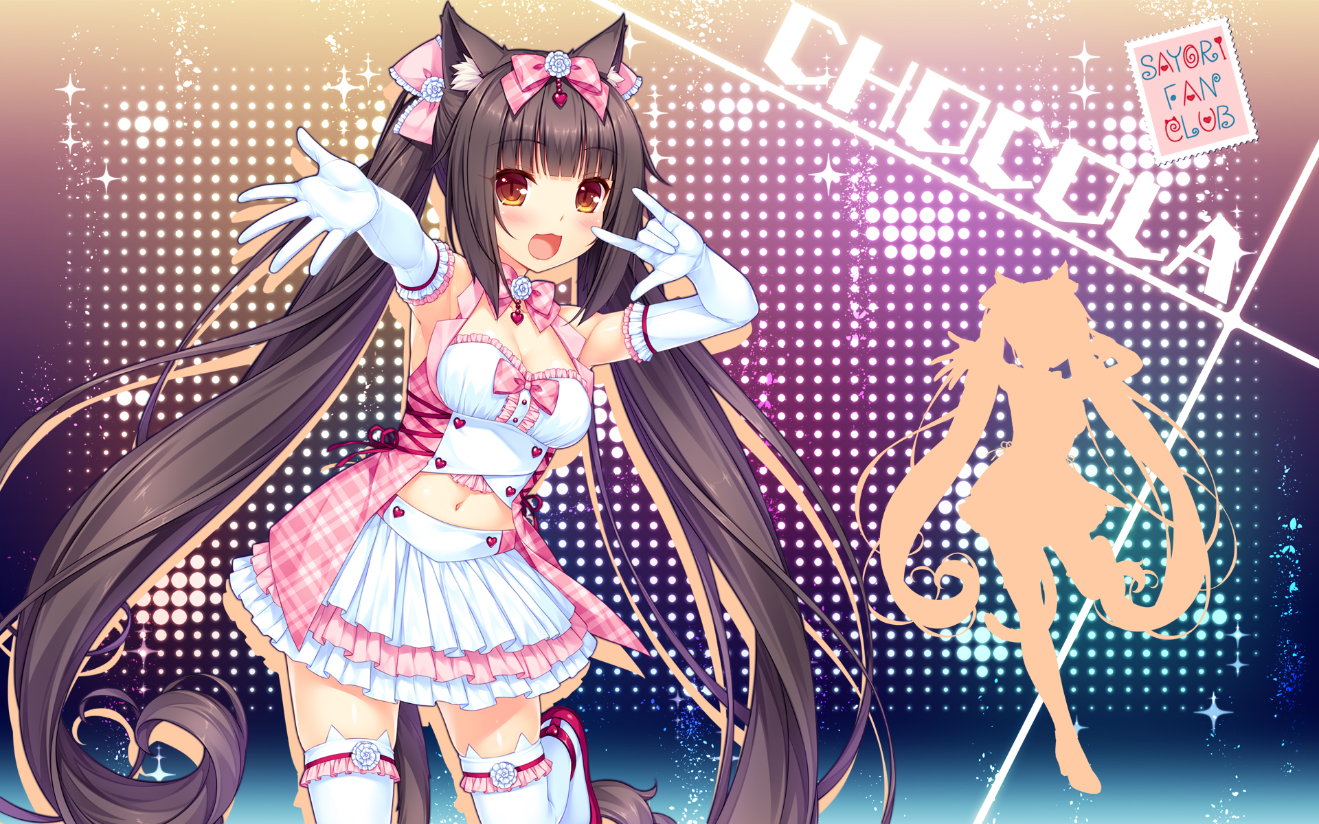 yande.re 405908 animal_ears chocolat cleavage heels neko_para nekomimi sayori silhouette tail thighhighs wallpaper.jpg