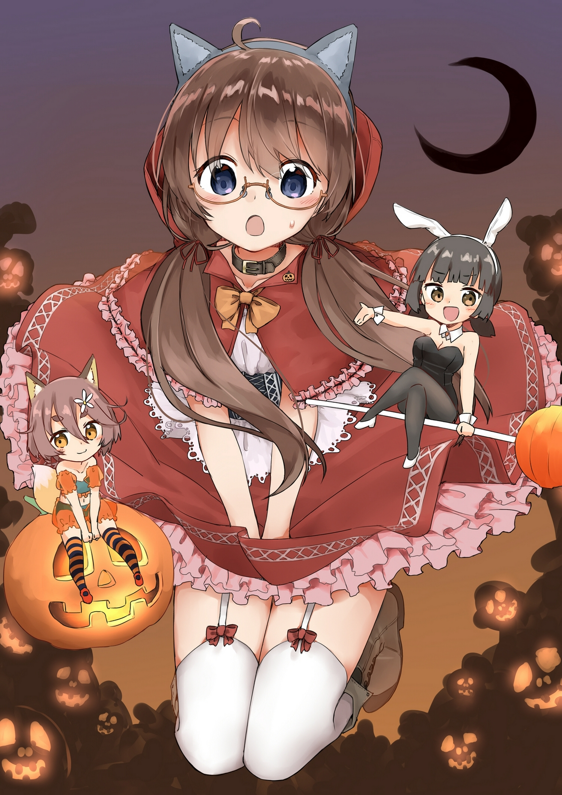 yande.re 491556 animal_ears bunny_ears bunny_girl halloween heels little_red_riding_hood_(character) megane pantyhose sekira_ame thighhighs1.jpg